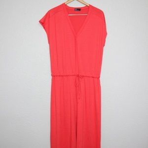 GAP Drop/ Tie Waist Rose Brush Maxi Dress sz Large